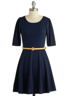 Simple Kind of Dress - Mid-length, Blue, Solid, Belted, Casual, A-line, Short Sleeves, Scoop