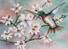 Hummingbird & Dogwoods  5 x 7 Note Card 2 choices Greeting Card Hummingbird Dogwood, watercolor print