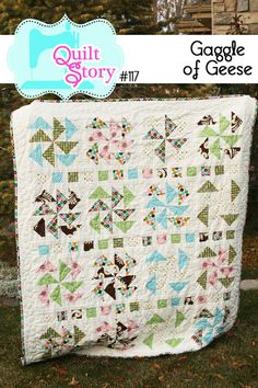 """Quilt Pattern PDF modern simple traditional block """"Gaggle of Geese""""."""