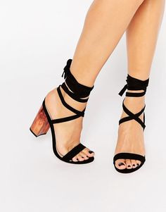 Image 1 of ASOS HANDFUL Lace Up Heeled Sandals