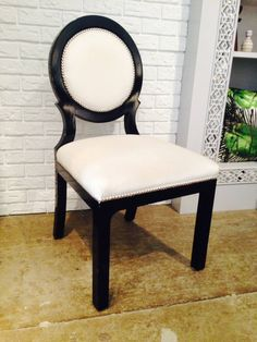 Set Of Four Hollywood Regency Black And White Circle Back Dining Chairs    From A