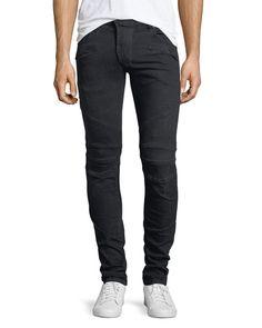 PIERRE BALMAIN Distressed Skinny Moto Jeans, Darkest Blue. #pierrebalmain #cloth #