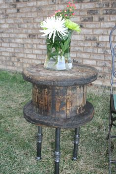 Wooden Spool Table Re Purposed wood table by TreeStumpLane on Etsy, $155.00