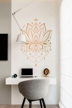 Lotus Wall Decal Sticker, Boho wall decor, Mandala wall decal, Yoga studio Decals, Yoga sticker decal, Lotus Flower sticker, Bohemian decal by FantasticWallArtShop on Etsy