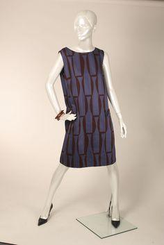 Marimekko Lilac Brick Color Abstract Print Sleeveless Dress L XL