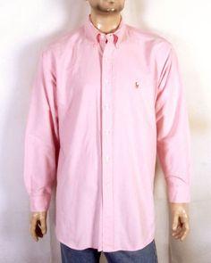 ef63f5ba211458 vtg 90s euc Polo Ralph Lauren Pink Yarmouth Button Down Dress Shirt pony  17.5 35