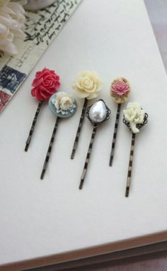 Country Rustic Inspired Flower Bobby Hair Pins, Ivory Rose, Dark Pink, Faux Pearl, Rustic Flower, Hair Pin Accessories, Set of Six (6) Maids.  By Marolsha.