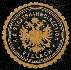 + 1871 Villach Austria State Railways Eisenbahn Embossed Document Label Seal