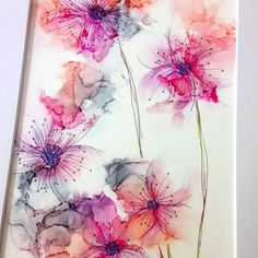 This looks like alcohol inks on a ceramic tile. Beautifully done This looks like alcohol inks on a ceramic tile. Alcohol Ink Crafts, Alcohol Ink Painting, Alcohol Ink Art, Watercolor And Ink, Watercolor Flowers, Watercolor Paintings, Watercolor Ideas, Pintura Graffiti, Jazz Art