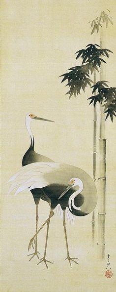 Suzuki Kiitsu (1796-1858) - Cranes Beside Bamboo