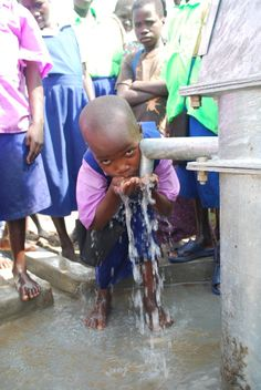 Life- just add water at the Ating Tuo Primary school in Uganda where last year Drop in the Bucket drilled a well.