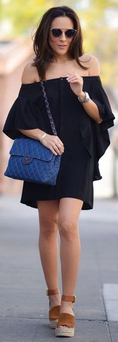 MLM Label Off Shoulder Dress from Paris & Me Boutique, Chanel Denim Flap Bag, Marc Fisher Espadrille Wedges, Free People Sunglasses, All Jewelry Parpala Jewelry || Lucy's Whims #mlm
