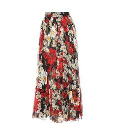 Multicoloured floral-printed silk skirt