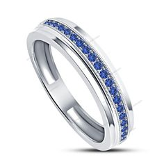 Round Cut Blue Sapphire Prong Set 14K White Gold Finish Men's Band Ring 0.74 CT #aonedesigns #MensEngagementRing