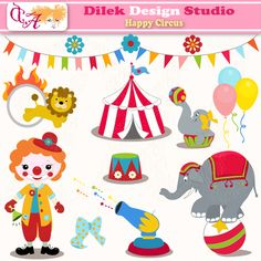 Cute Dilek Happy Circus clipart perfect for your craft project, scrapbooking, invitation, web design, paper product, design card and everything else.  Great for cute announcements web store fronts, blog design or simple enough for embroidery