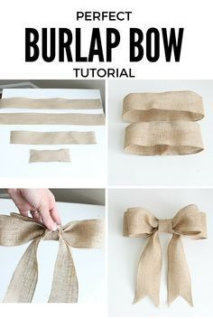 DIY burlap bow tutorial for beginners! Concise, step-by-step directions with pictures. This bow is PERFECT and can be used in a variety of ways. Diy Bow, Diy Ribbon, Ribbon Bows, Ribbons, Burlap Crafts, Burlap Bows, Burlap Bow Tutorial, Diy Xmas, Christmas Bows