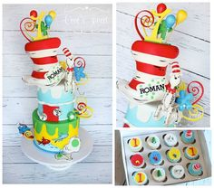 In Celebration of Dr. Here is a cake I had the honor of creating last year. Dr Suess Cakes, Cake Designs, Whimsical, Happy Birthday, Holiday Decor, Sweet, Timeline Photos, Kids, Cake Ideas