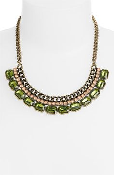 """Carole Chain Statement Necklace available at #Nordstrom  A bronze-hued chain finishes with sparkly peach and olive vintage glamour.  Lobster clasp closure.  Approx. length: 18"""" with 3"""" extender.  Tin/steel/plastic.  By Carole; imported.  BP.   $18"""