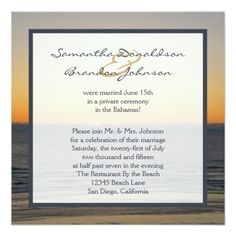 Save the Date Beach Wedding Wedding Reception Only Invitations