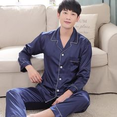 e5ade8a0e7 2018 new men satin silk pajamas sets of sleepshirt   trousers adult nightwear  man casual home