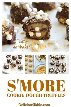S'more Cookie Dough Truffles are an easy no-bake dessert candy with chocolate chips, graham crackers, and mini marshmallows just like a campfire s'mores! via Cookie Dough Truffles are an easy no-bake dessert candy with chocolate chips, gra Unique Desserts, Easy No Bake Desserts, Dessert Recipes, Fudge Recipes, Dessert Ideas, Drink Recipes, Delicious Desserts, Truffles Easy No Bake, Cookie Dough Truffles