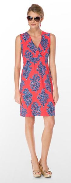 lily pulitzer jia dress in bright navy coral siesta