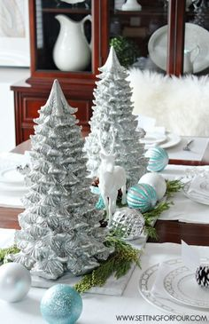 How to make a Shimmery Winter Woodland Glam Christmas Centerpiece for the holidays! DIY decor tips and resource list included. www.settingforfour.com