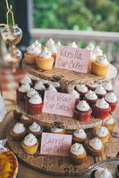 **I like the cards with the type **perfect if having any gluten free Love how rustic this cupcake display is! cupcakes are a must : ) Fall Wedding Cupcakes, Mini Wedding Cakes, Wedding Cupcakes Display, Wedding Cupcake Table, Wedding Table, Tolle Cupcakes, Mini Cupcakes, Lemon Cupcakes, Strawberry Cupcakes