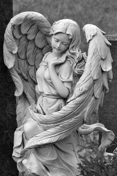 One of the two statues in the Memory of Hope garden that celebrates the angel Helana (pronouced HE-lanna) and the work she did to save the world. Legend says if you pray to either of her statues, when you need it most, her spirit will give you strength. Cemetery Angels, Cemetery Statues, Cemetery Art, Angels Among Us, Angels And Demons, Statue Ange, I Believe In Angels, Ange Demon, Angels In Heaven