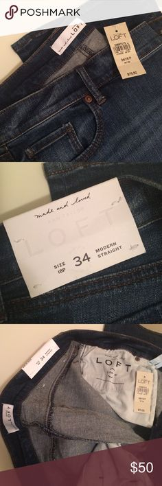 NWT Loft Modern Straight Jeans NWT Loft modern straight jeans size 34 petite which is equivalent to 18 Petite (shown on tag). Comes from a smoke free and pet free home. LOFT Jeans