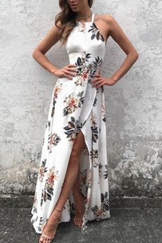 Sleeveless Side Split Back Lace up Random Floral Print Maxi Dress -Make heads turn in this maxi dress. It is adorned with sleeveless, back lace-up, cut out and side split. Pair it with high heels. With floral print the dress makes you perfect. Boho Floral Dress, Floral Print Maxi Dress, Floral Dresses, Long Summer Dresses, Evening Dresses, Summer Outfits, Afternoon Dresses, Flapper Dresses, Dresses Dresses