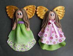 Decokuferek - rękodzieło artystyczne, masa solna, papierowa wiklina, decoupage: Kolejne aniołki...
