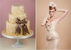 Maya Hansen is a Spanish designer known for her extravagant corset dresses. A little over-the-top, but both cake and dress are gorgeous. Cake: Cakes Haute Couture.