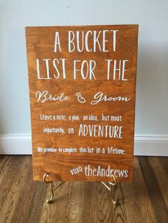 Custom made sign for a Bride and Groom's bucket list guest book. Last name will be customized to your request.