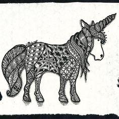 """SiebenPfeile's Zen-ART """"tangle-unicorn"""""""