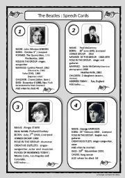 English worksheet: speech cards: The Beatles