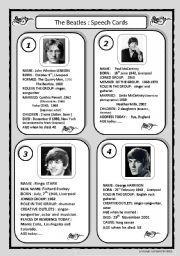 English worksheet: speech cards: The Beatles