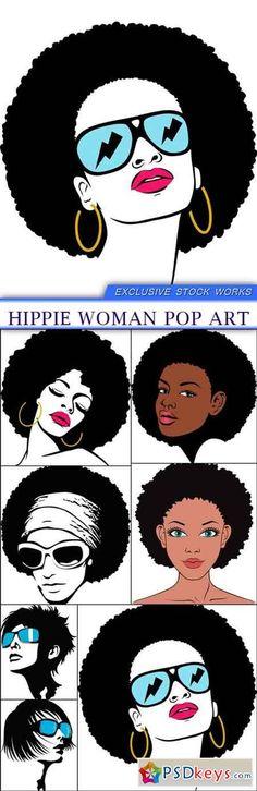 Hippie woman pop art 7X EPS