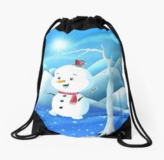 'Snowbaby on Sparkling Ice' Drawstring Bag by We ~ Ivy Backpack Bags, Tote Bag, Presents For Friends, Makeup Pouch, My Themes, Good Cause, Drawstring Bags, Sparkling Ice