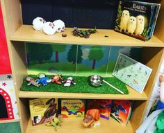 Story shelves EYFS interactive story-telling shelves to encourage independent exploration of books and stories. Reading Corners, Book Corners, Eyfs Classroom, Classroom Setup, Nursery Stories, Spring Term, Story Sack, Educational Activities For Kids, Interactive Stories