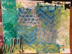 Mixed media art journal page with Gelli print base