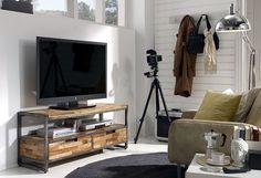 Mueble TV 2 Cajones Teca Reciclada   Material: Madera de Teca   Reciclada y Hierro Pulido.... Eur:478 / $635.74