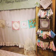 Wedding display idea for vintage handkerchiefs.