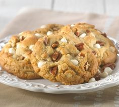 The delicious blend of moist cookie with White Chocolate chunks and southern pecans! #Cookie #WhiteChocolate #Pecans #GlutenFree #GlutenFreeCookies