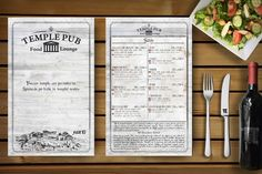 for my client Temple Pub Food Menu Design, Print Design, Temple, Print Layout, Type Design