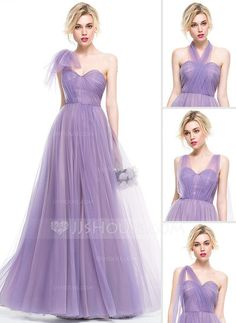 [€ 129.91] A-Line/Princess Sweetheart Floor-Length Tulle Bridesmaid Dress With Ruffle (007076095)