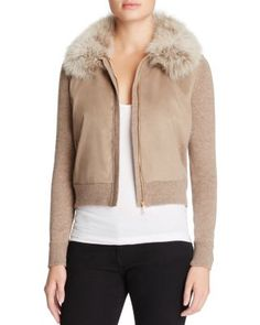 Magaschoni Fox Fur & Faux Suede Paneled Cashmere Cardigan   Bloomingdale's