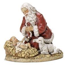 Adoring Santa With Baby Jesus And Lamb Joseph Studio Beautiful hand painted statue of Santa kneeling down to adore the baby Jesus. A nice addition to any Christmas decoration. Made of resin and stone