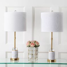 """27"""" (Set Of 2) Harper Marble/Crystal Table Lamp (Includes Energy Efficient Light Bulb) White - JONATHAN Y : Target"""