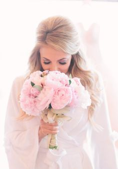 Pink peonies and gold ribbon: http://www.stylemepretty.com/2014/07/25/classic-indoor-wedding-with-a-dash-of-glam/ | Photography: Katie Shuler - http://www.katieshuler.com/